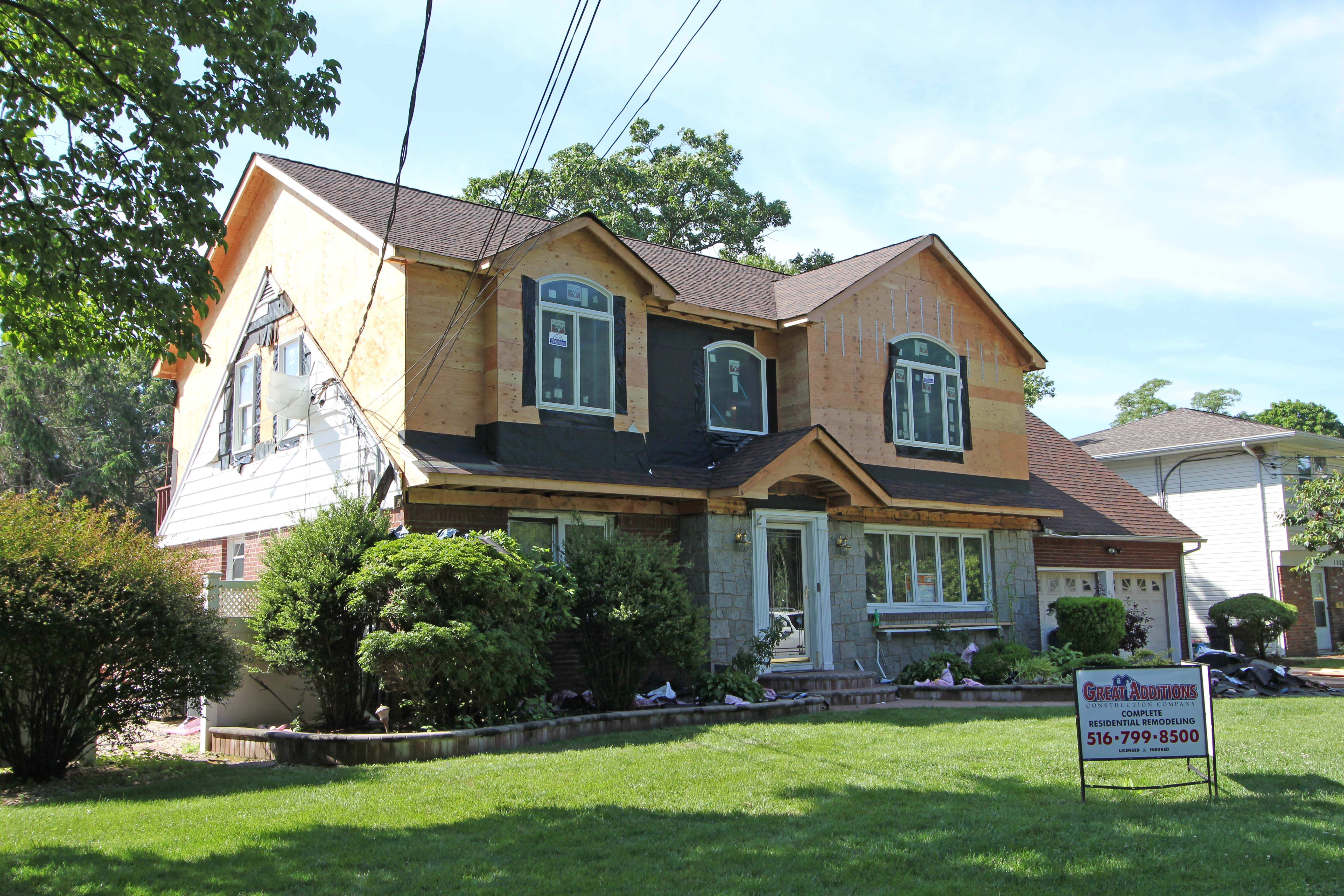East meadow ny full dormer on an expanded cape for Dormered cape