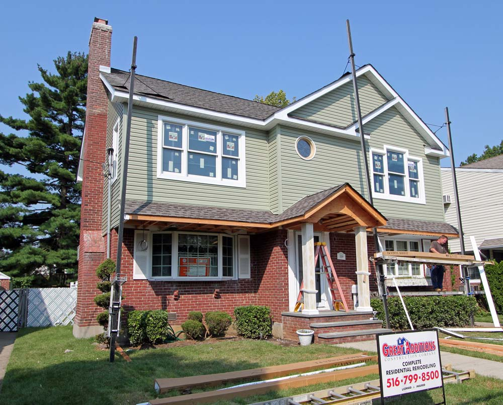 West Hempstead Ny Full Dormer With Front Portico On A